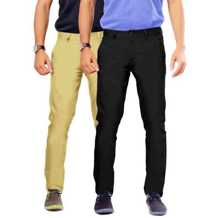 Uber Urban Mens Non Stretch 100% Cotton  Rocky pant Slim Beige::Black Trouser. See more details at Uberurban.in