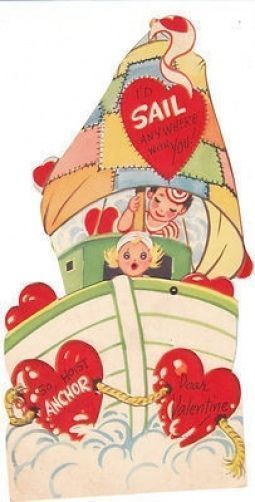 Absolutely love this! #Vintage #Valentine Card Sailboat with Children Mechanical Unused Die Cut