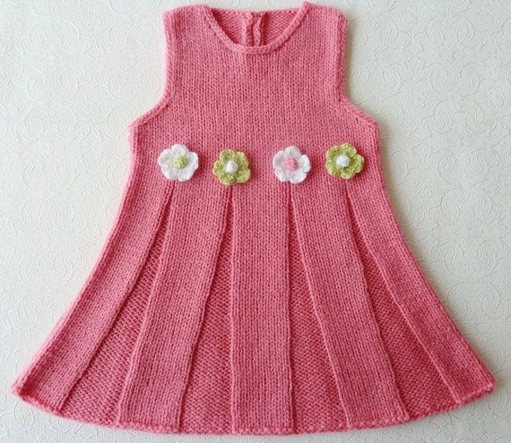 Hand Knitted Baby Dress in Pink, White, and Lime Green. Super gift for a 6 month old baby girl!