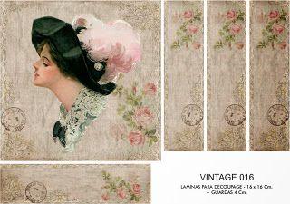 FOLHAS DE DECOUPAGE DECOPAPER: Vintage Prints 16x16 + GUARD (3)