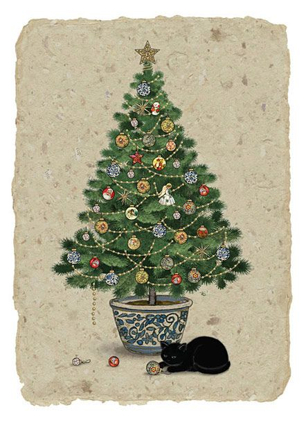 Tree Cat - christmas card design by Jane Crowther, Bug Art