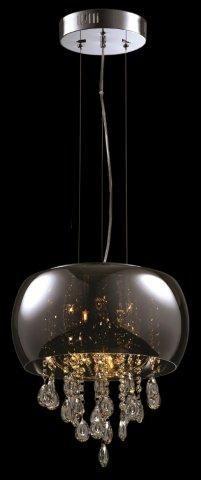 Produtos Infinity Modern Lamp - Grupo Metais Bianca Medidas: Ø40*35CM Material: VIDRO METALIZADO E CRISTAIS Descrição PENDENTE COM VIDRO METALIZADO CROMADO COM CRISTAIS NA PARTE INTERNA. NOS TAMANHOS Ø40 E Ø50 E NAS CORES DE VIDRO CROMADO OU ÂMBAR.