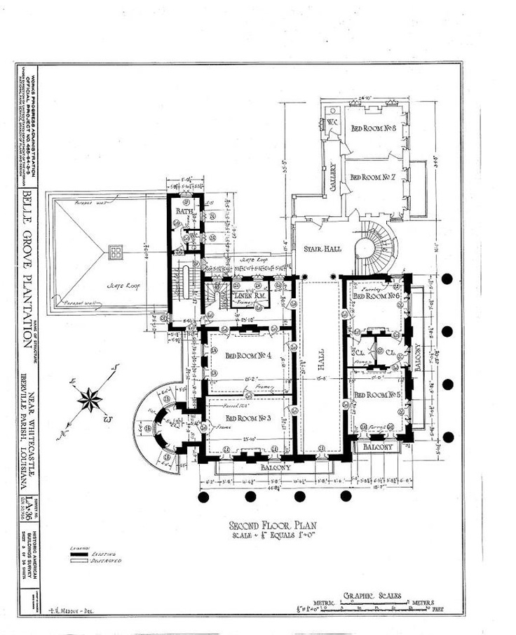 Belle Grove Plantation Mansion, White Castle Louisiana Floor Plans   Second  Floor
