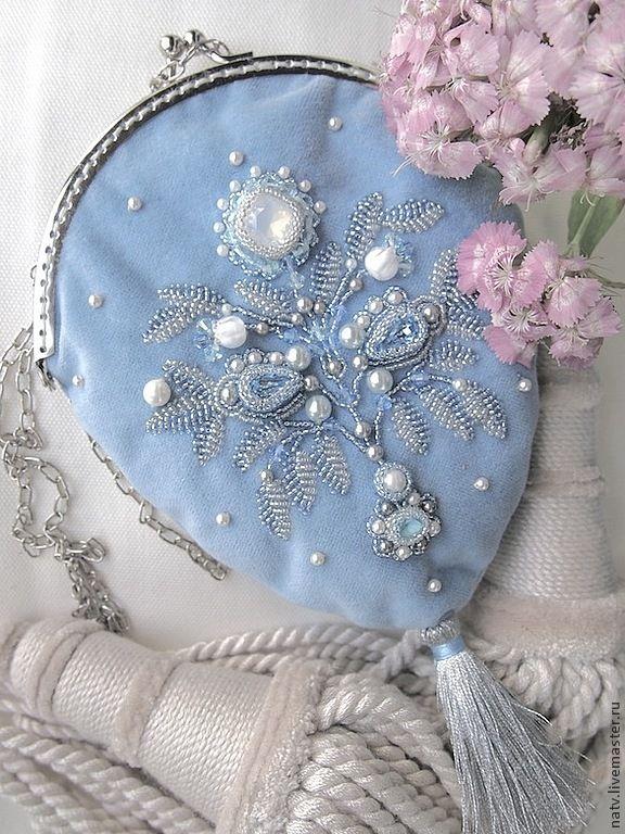 Купить Опал - голубой, средневековье, бархат, кисет, сумочка вечерняя, бисер, японский бисер, swarovski