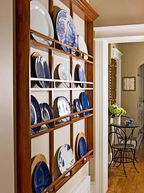 Display of Affection Adding color and interest to the wall opposite the refrigerator this custom & 605 best Plate Racks u0026 Display Shelves images on Pinterest ...