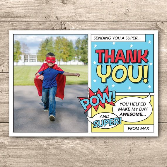 Superhero Thank you card for Birthday // I by InkandCardDesigns