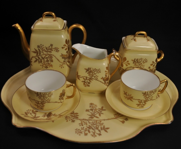 AK Klingenberg, Limoges Porcelian (France)   Coffee Chocolate Set .Hand  Painted.
