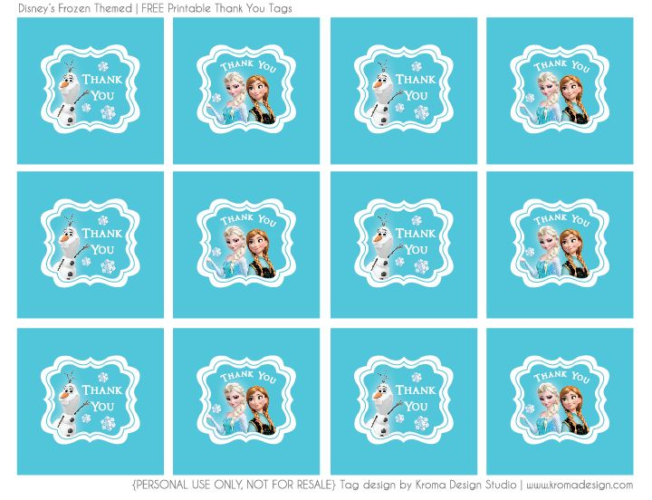 Frozen Themed Free Printable Thank You Favor Tag Pdf File Click