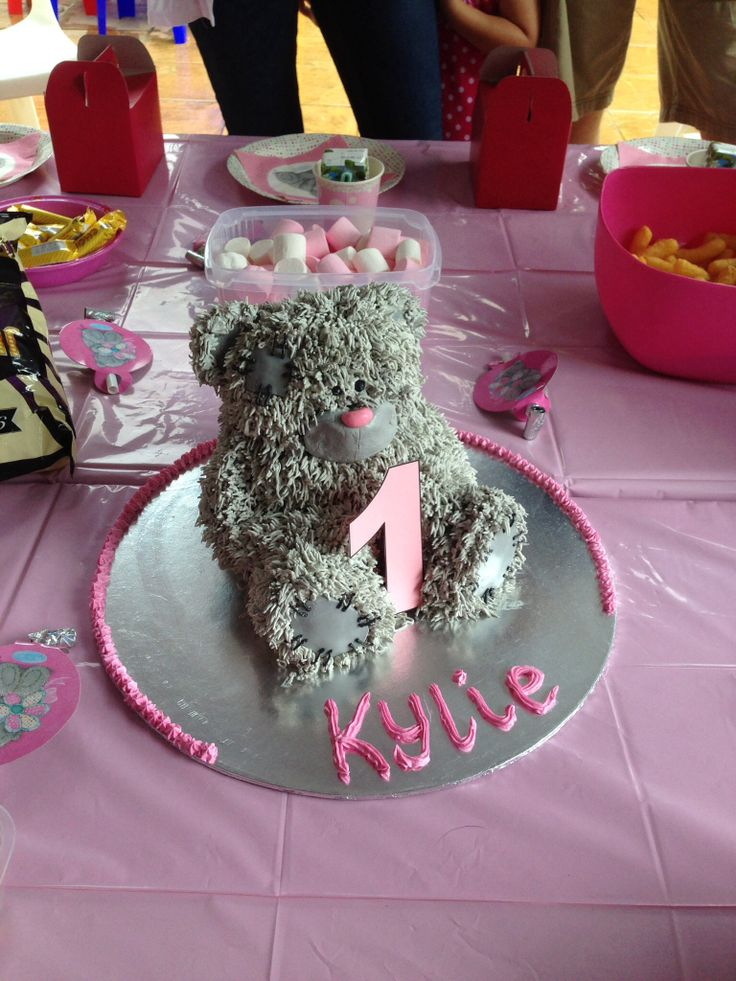 My own creation #cake #teddy #tatty #baking #sweet #party #grey #pink #bear #girl #birthday