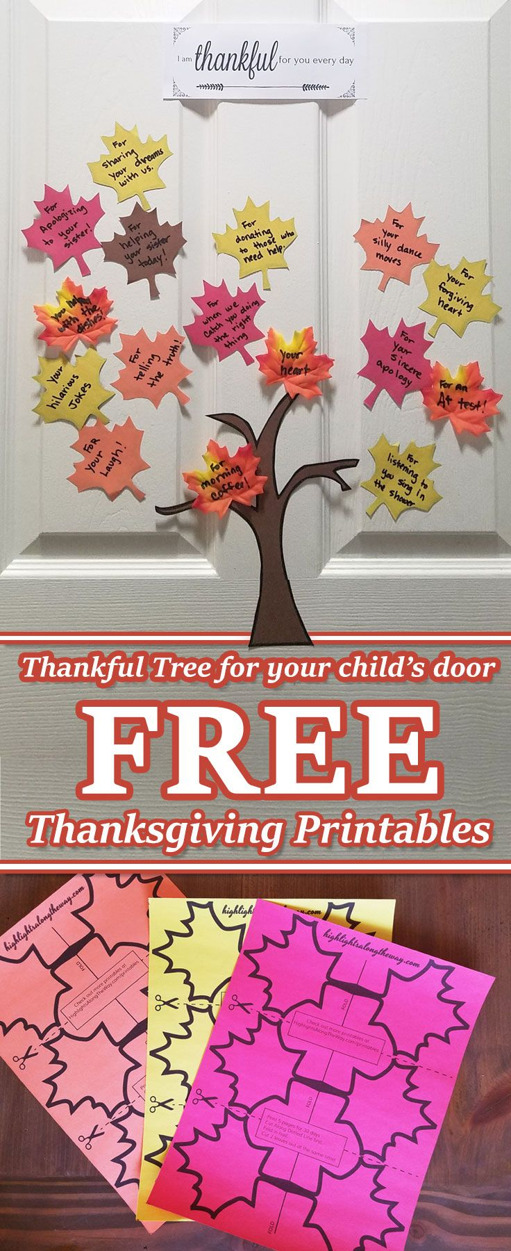 Thanksgiving Tree Printables. Free Printable tree and leaf cut outs for a Thankful tree to put on your child's door. #Thanksgiving #traditions #thanksgivingprintables #freeprintables