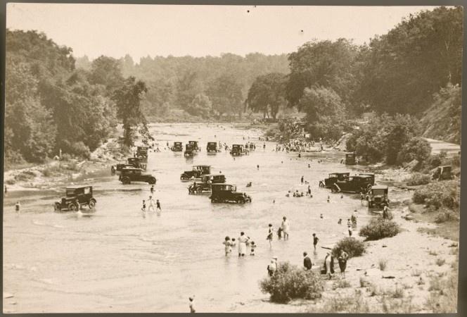 car washing in the Humber River, Toronto, 1922
