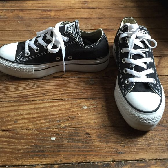 Black and white platform converse! Black and white platform converse, size 6! Worn only 2 times and in perfect condition! They're so cute but unfortunately are a little big on me! Converse Shoes Platforms