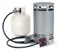 Beat the icy chill on the lake with this Operates from 20 pound propane tank (not included). Hose and regulator are included. Clean burning, compact and lightweight. Adjustable heat output.