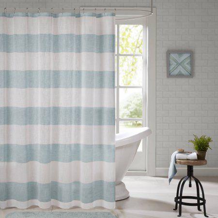 Home Essence Apartment Elliot Yarn Dyed Shower Curtain, Blue