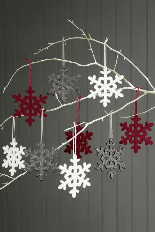 Buy Set Of 9 Red, White And Grey Snowflake Decorations from the Next UK online shop