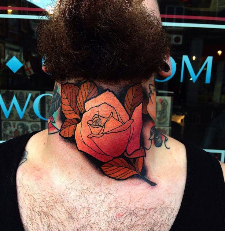 Orange rose throat tattoo