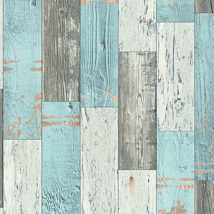 Meer dan 1000 idee n over kleur blauw op pinterest kleuren kleur en winkels - Wood effect bathroom wallpaper ...