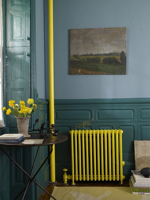 yellow radiator, i don't have one but i love this photo, the colors are fantastic.