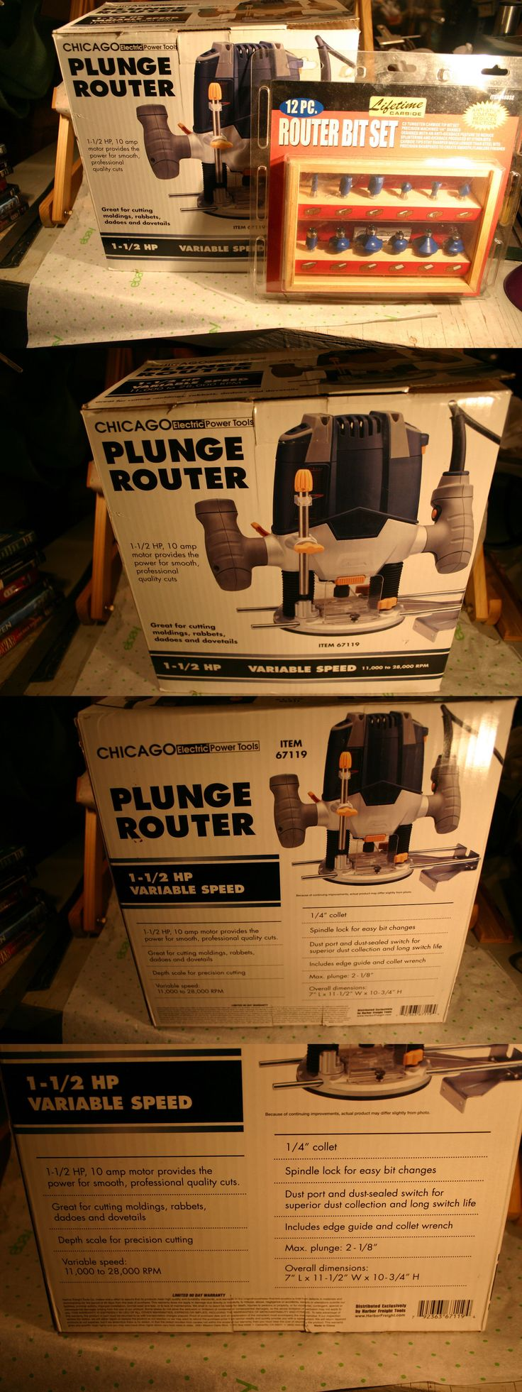 Routers 122829: 1 1 2 Hp Plunge Router With 12Pc Bit Set, New -> BUY IT NOW ONLY: $79.19 on eBay!