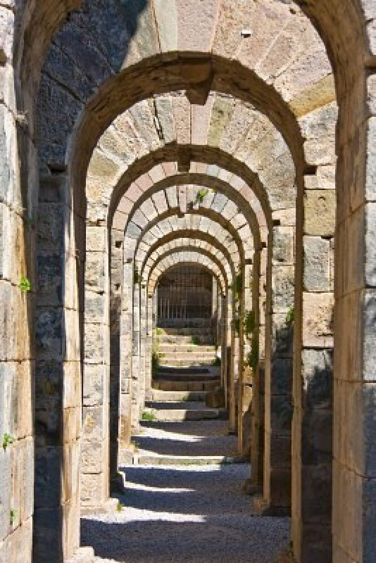 Ancient stone tunnel, Bergama, Turkey ..
