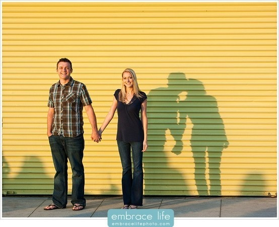 This is a cute idea for engagement photos, except pose being him on one knee and the shadows kissing