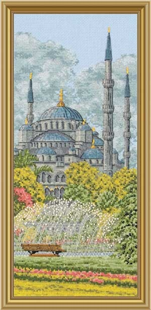Blue Mosque, Faraway Places, counted cross-stitch
