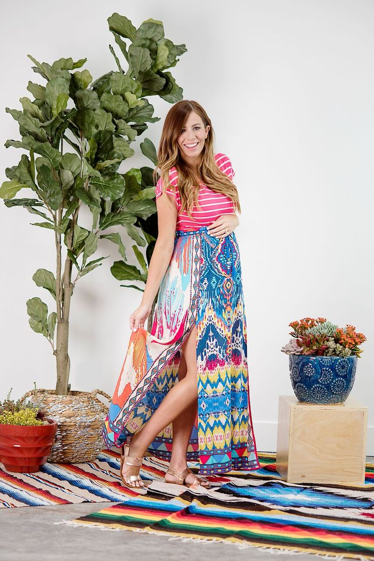 Bohemian Print Maxi Skirt and striped tee. Mixing and matching prints.