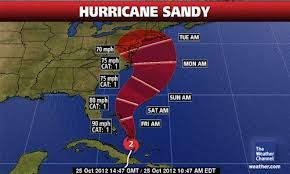 Hurricane Sandy projected path  10/29/12