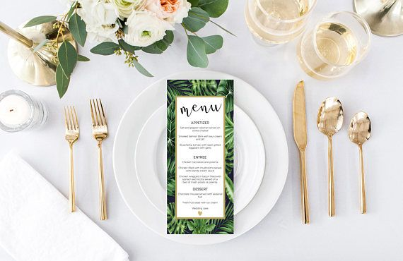 tropical wedding menu, Tropics wedding menu, Wedding menus, printable wedding menus, tropical wedding menus, Greenery wedding, tropical