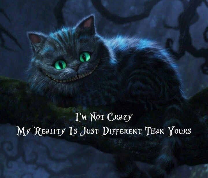 I'm not crazy, my reality is just different than yours... Cheshire cat quote