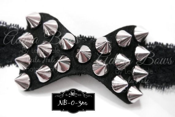Willow would so be rocking this!  - punk rock gothic heavy metal studs baby by AdoraBowsByLeilaHale, $7.50