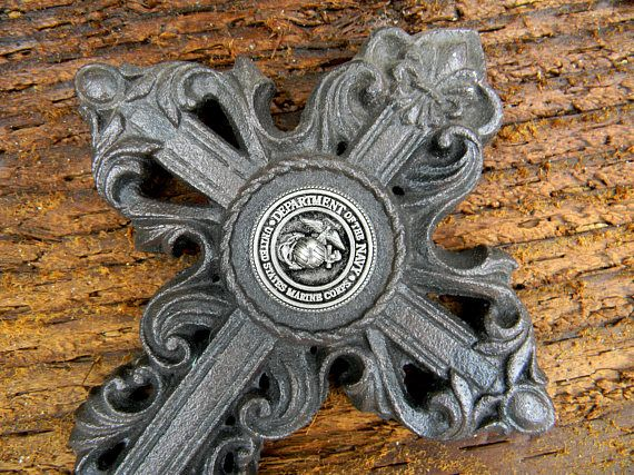 Cast Iron Cross USMC Marine Corps Christian Metal Wall Art