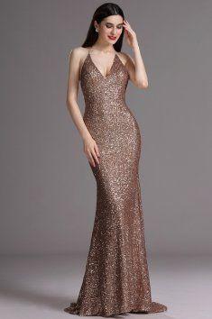 Plesové šaty s flitry kávové špagetová ramínka za krk hluboký výstřih na zádech vestavěná podprsenka délka 155 cm