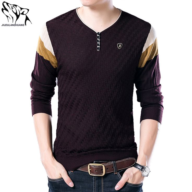 Men's Pullover Sweaters Autumn Korean Men's V-neck Long-sleeved Stitching Thin Knit Sueter Masculino Casual Sweater Masculino #Affiliate