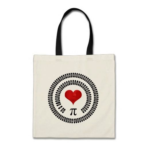 Pi Day Heart #Math Digits 3.14 Mathematics #Love #piday #gifts #tote #bag