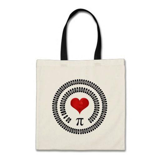 Pi Day Heart #Math Digits 3.14 Mathematics #Love #piday #gifts #tote #bag