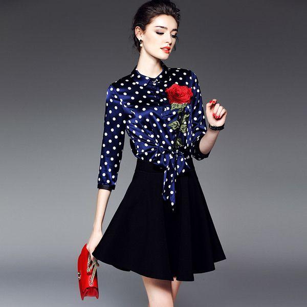 Exserta Sang 2017 весной новый темперамент дамы женщины волна точка шелкография шить плиссированные платья 1872