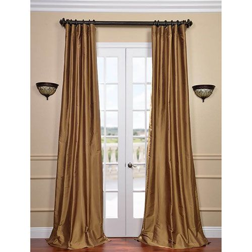 Exclusive Fabrics & Furnishings Brown Gold 96 x 50-Inch Thai Silk Curtain Single Panel