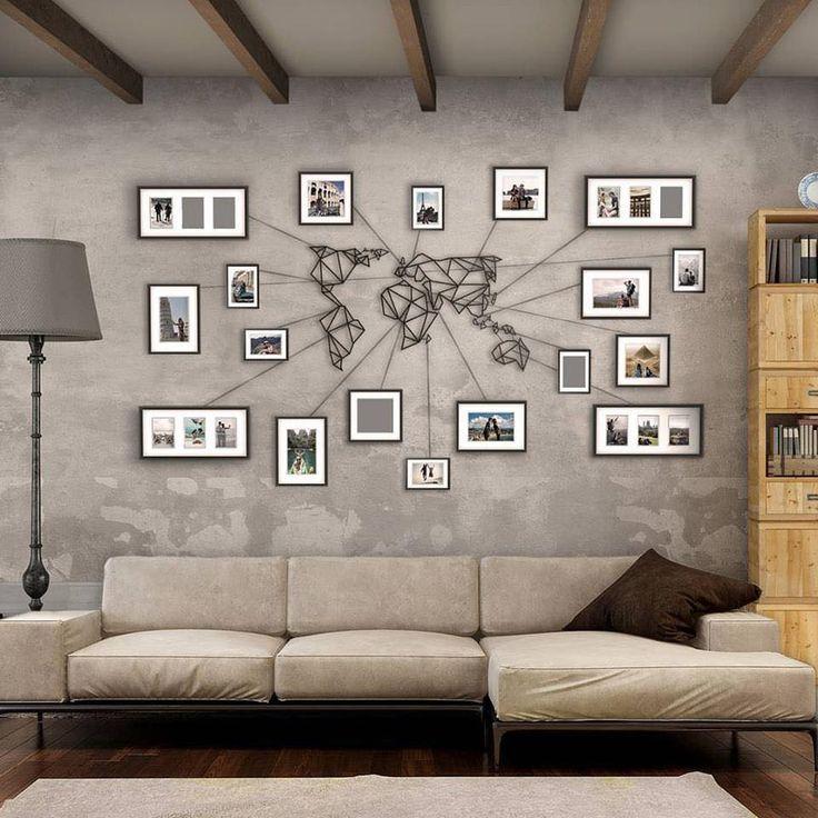 Für alle, die gerne auf Reisen gehen. Mit dieser Idee lassen sich die geliebten Urlaubserinnerungen perfekt in die Wohnzimmer Einrichtung integrieren. Genial!