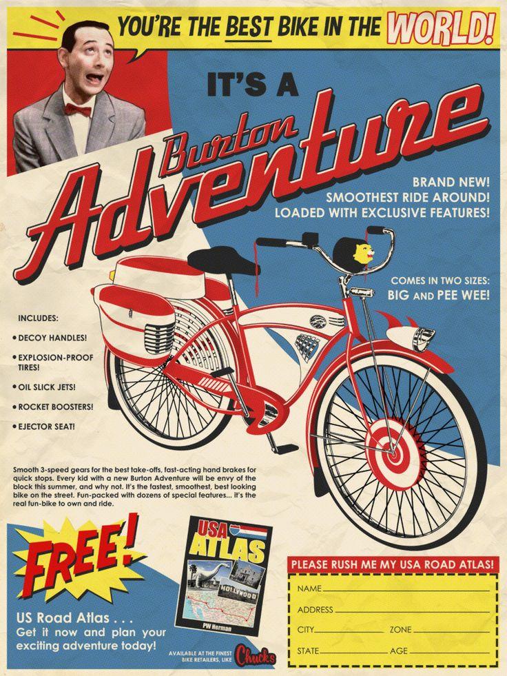 Pee Wee Herman Burton Adventure vintage bicycle ad Pee Wee's Big Adventure