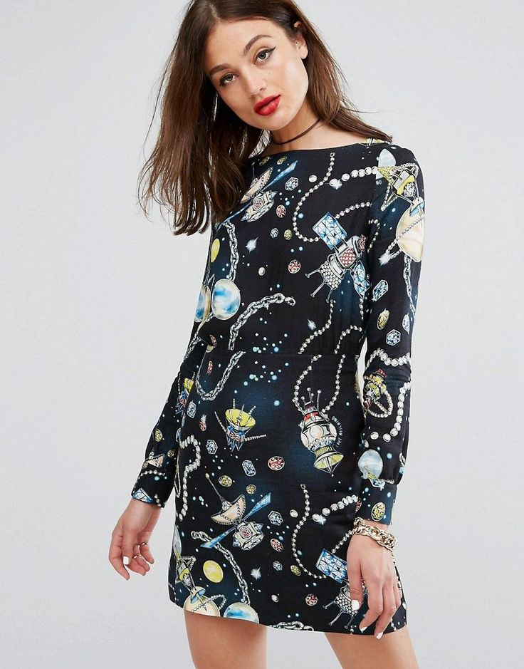Buy it now. Love Moschino Galaxy Printed Wool Mix Dress - Black. Dress by Love Moschino, Soft-touch wool-mix fabric, Boat neck, Long sleeves, Galaxy print, Regular fit - true to size, Dry clean, 93% Viscose, 7% Wool, Our model wears a UK 8/EU 36/US 4 and is 178cm/5'10 tall. ABOUT LOVE MOSCHINO A diffusion line of Franco Moschino's iconic Italian design house, Love Moschino creates a playful and irreverent collection injected with a sense of youthful cool. Witty prints and charm…