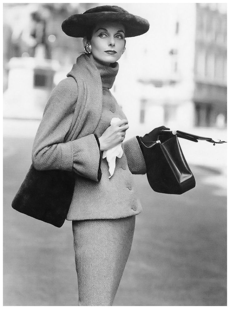 Anne St. Marie in Fath's wool suit, photo by Henry Clarke, Vogue, September 1955