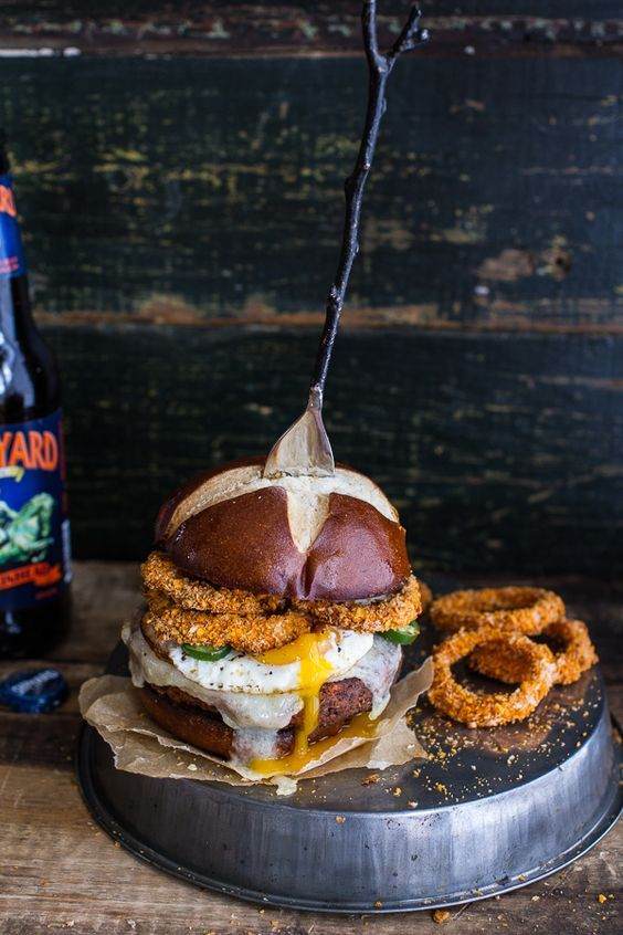 Sweet Potato Black Bean Chili Burgers w/Baked Cheddar Beer Onion Rings + Fried Egg | @andwhatelse: