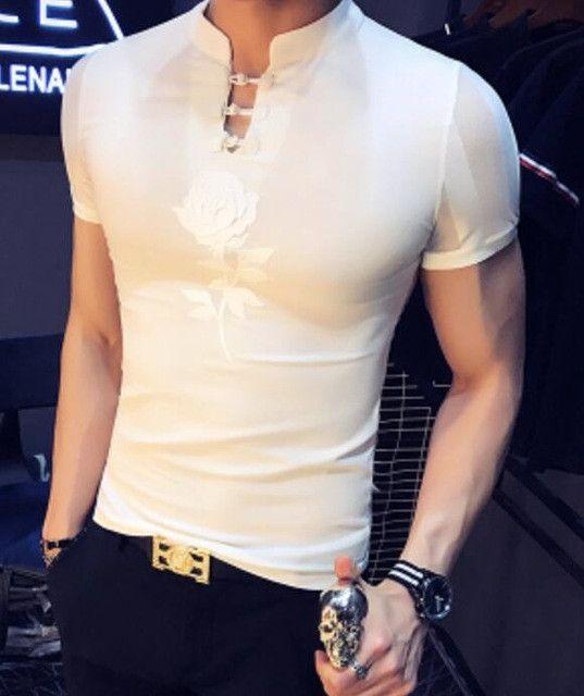 2017 Summer Transparent T shirts Mens Mandarin Collar T shirts Chinese Style White Camiseta Slim Fit Social Club Outfits Black