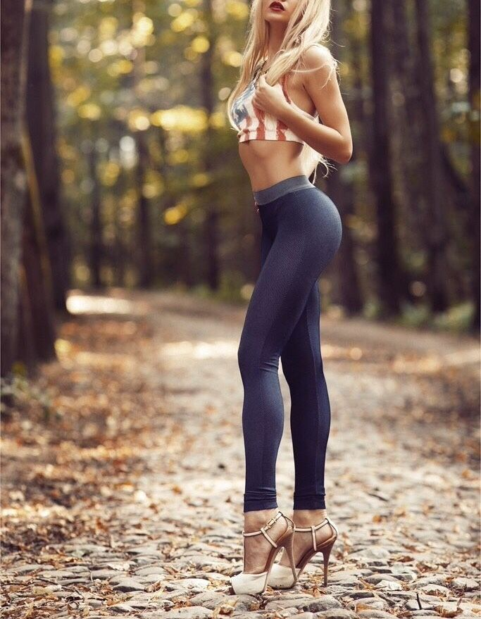 Shapely long legs in leggings and towering... | Great Legs and Stylish High Heels