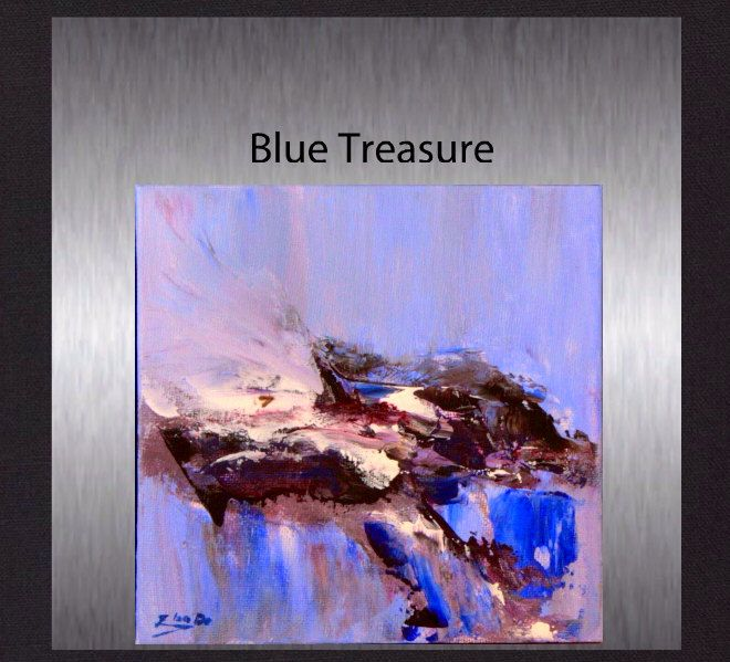 """Blue Treasure - Original Colourful Acrylic Abstract. Small 6""""x6"""" Modern Hand painted not a print. by ElcoStudio on Etsy"""