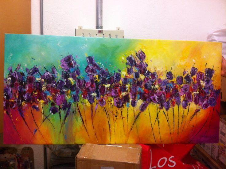 Tulipanes pintura en acrílico