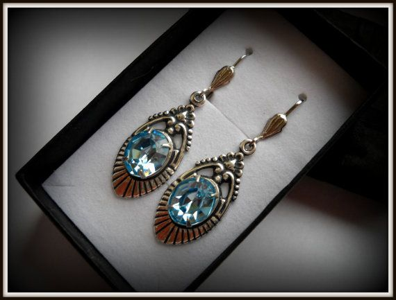 Victorian Art Nouveau Crystal Blue by HAartNouveauJewelry on Etsy