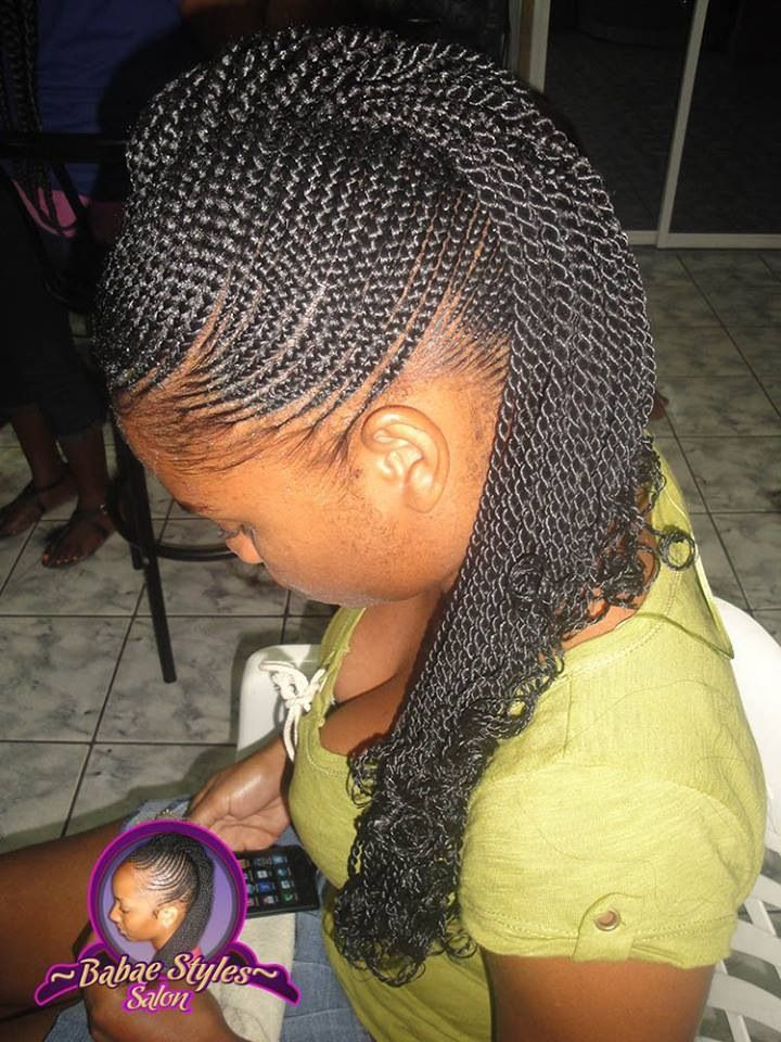 Natural Hair Protective Style Small Cornrows Ends Two