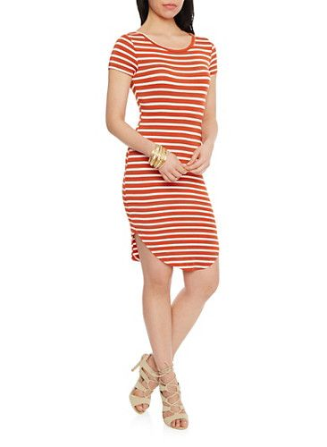 Striped T Shirt Dress with Rounded Hem,CHILLI WHITE
